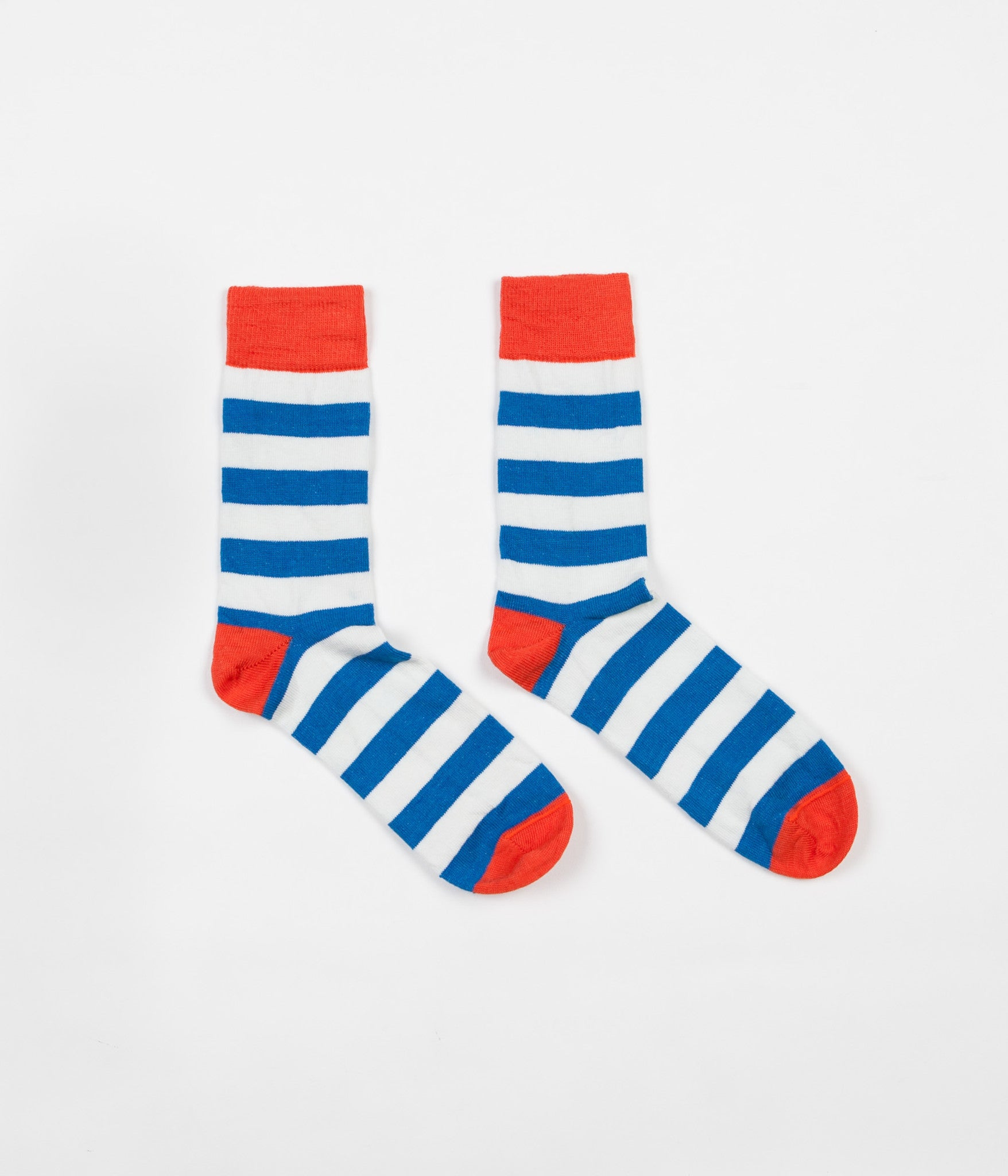Finisterre Last Long Striped Socks - Cerulean / White / Ember
