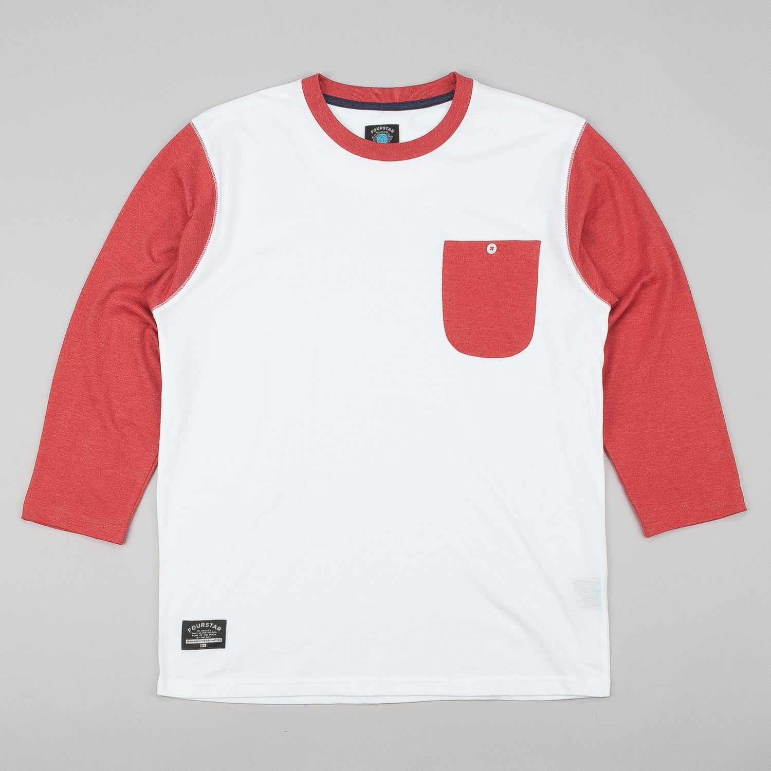 Fourstar Leavenworth 3/4 Sleeve Pocket T-Shirt - White / Red