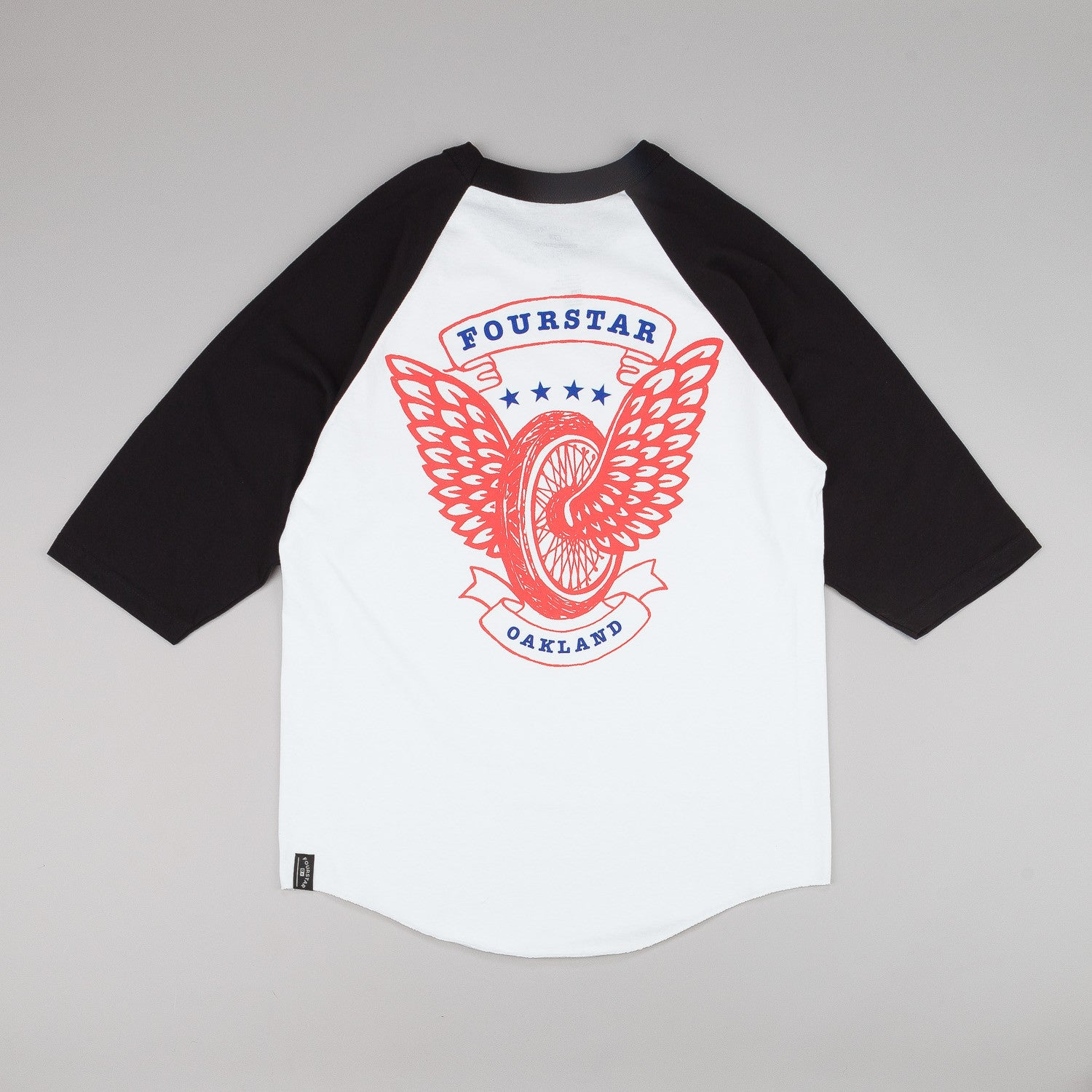 Fourstar Winged Wheel 3/4 Sleeve Raglan T-Shirt - Black / White