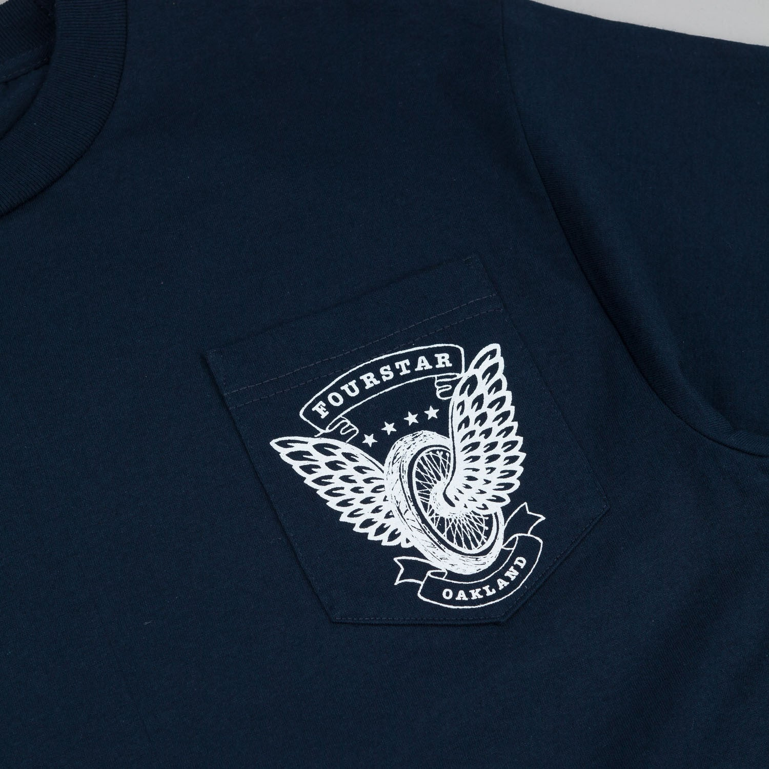 Fourstar Winged Wheel Pocket T-Shirt - Navy
