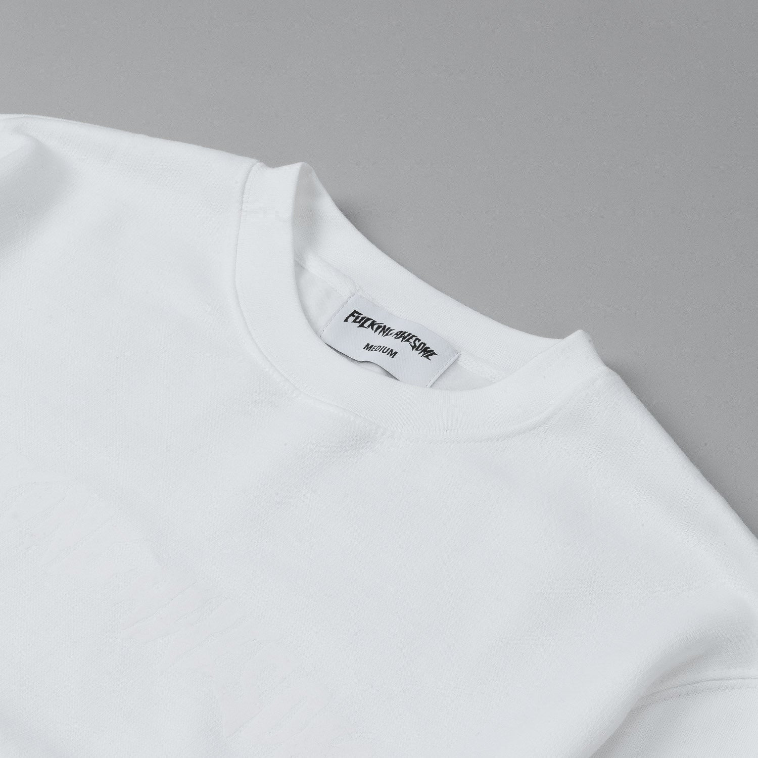Fucking Awesome Logo Crew Neck Sweatshirt - Tonal White