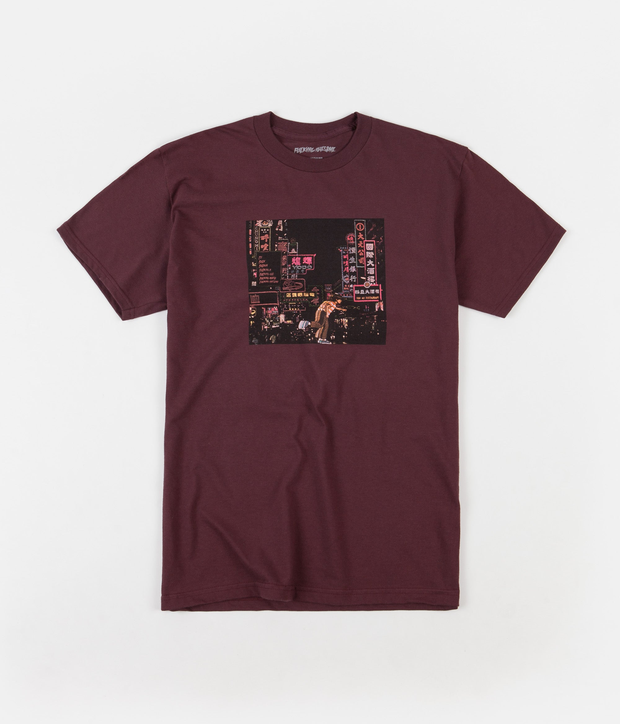 Fucking Awesome Neon Nights T-Shirt - Maroon