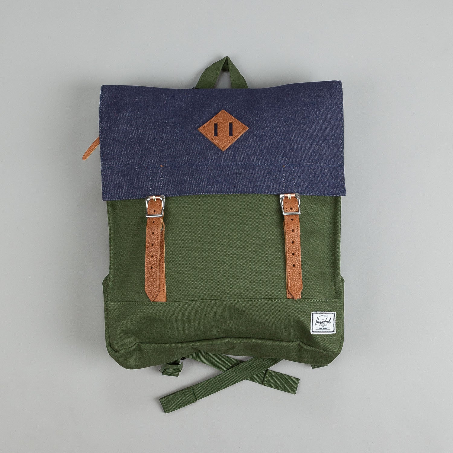 Herschel Survey Dark Army Coated Cotton Canvas / Indigo Denim