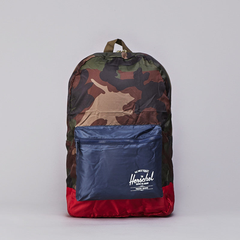 Herschel Packable Daypack Woodland Camo / Navy / Red
