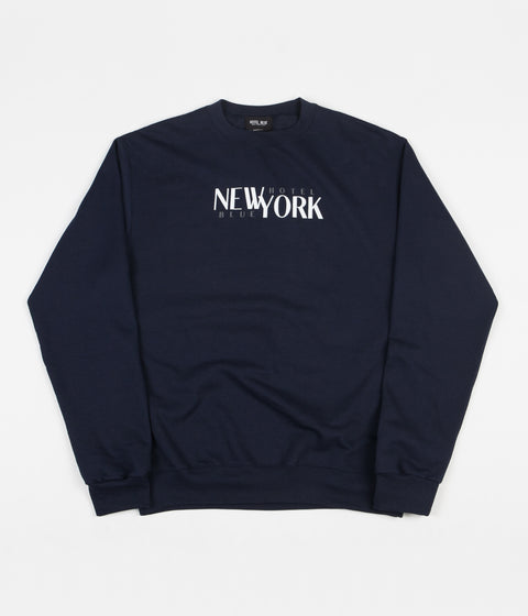 Hotel Blue Stacks Crewneck Sweatshirt - Navy