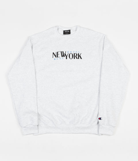 Hotel Blue Stacks Crewneck Sweatshirt - Silver Grey