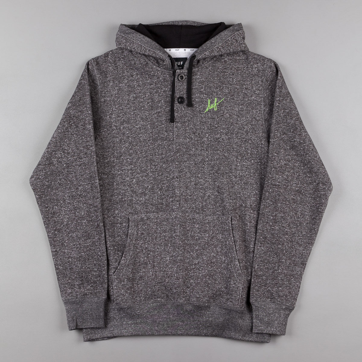 HUF Granite Henley Pullover Hooded Sweatshirt - Granite Heather