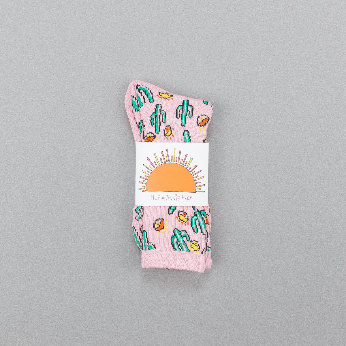 HUF Anne Freeman Saguaros Have Eyes Crew Socks - Pink