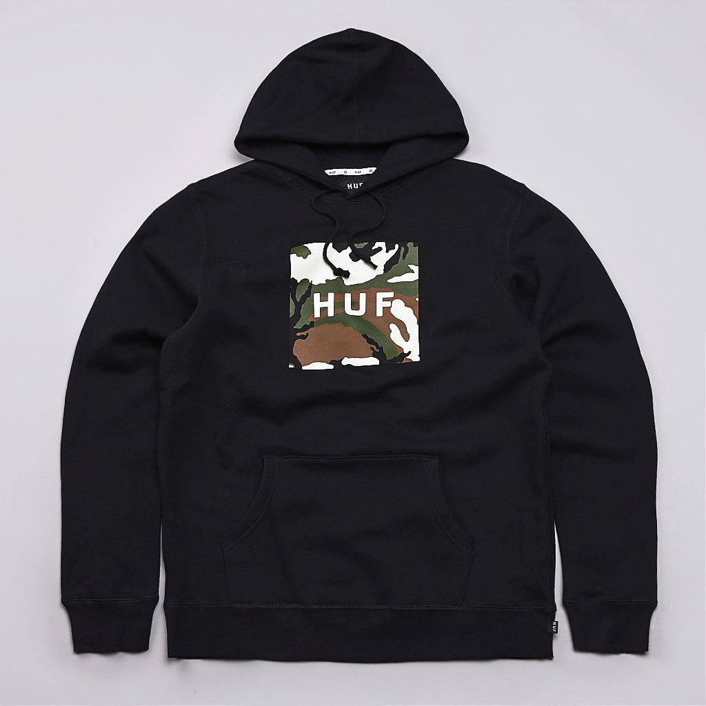 Huf Box Logo Fill Woodland Camo Hooded Sweatshirt Black
