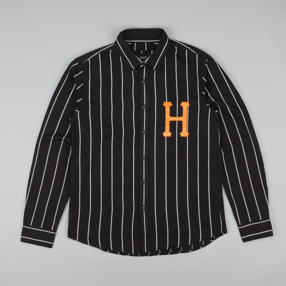 HUF Classic H Baseball Long Sleeve Shirt - Black / White