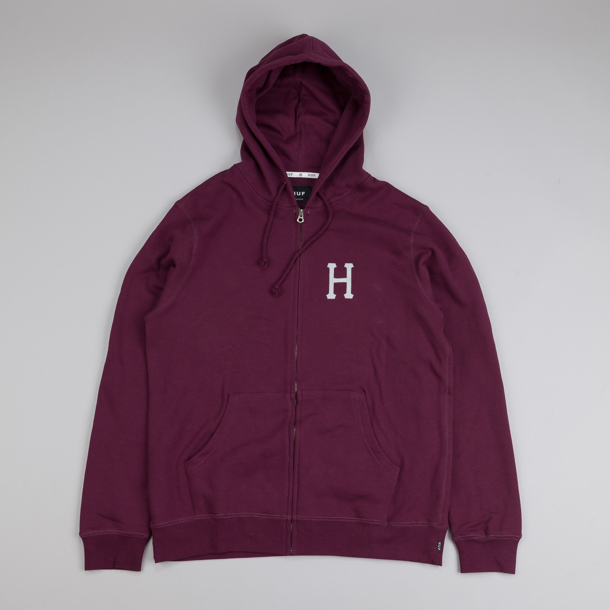 HUF Classic H Zip Up Hooded Sweatshirt Wine
