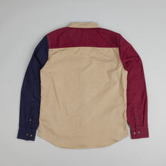 HUF Colour Block L/S Flannel Shirt Navy / Khaki / Wine