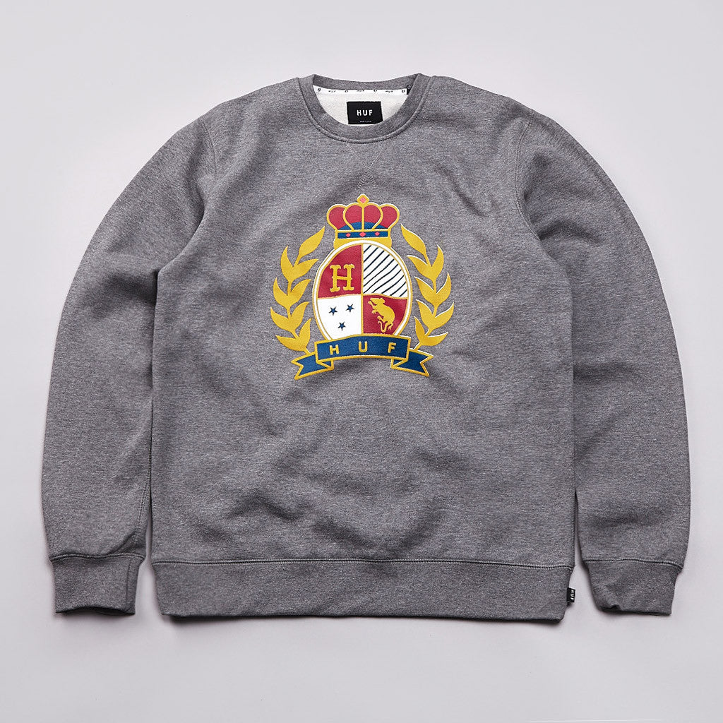 Huf Crested Crew Neck Sweatshirt Gun Metal Heather