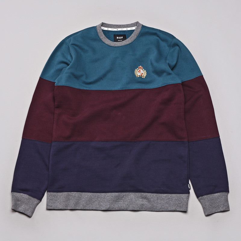 Huf Crest Block Crew Neck Sweatshirt Jade / Wine / Navy
