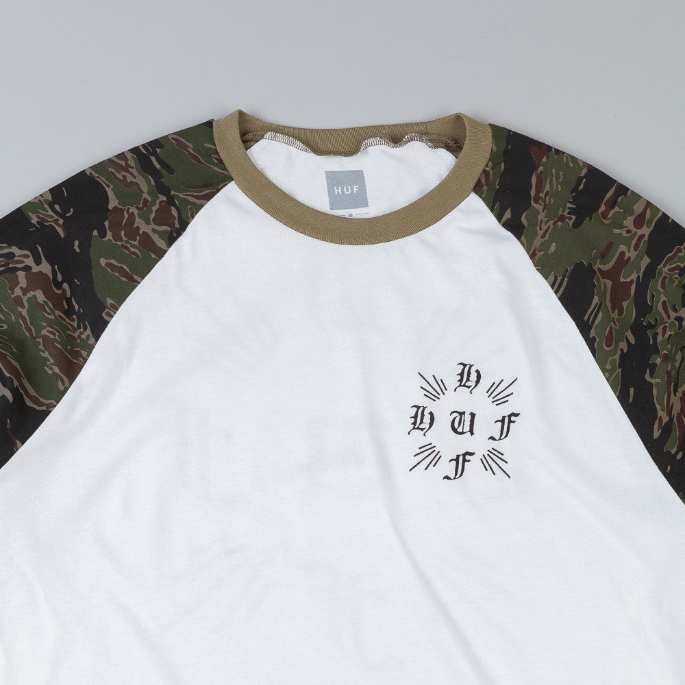 HUF Crossed Tiger Camo Raglan T Shirt Olive Camo