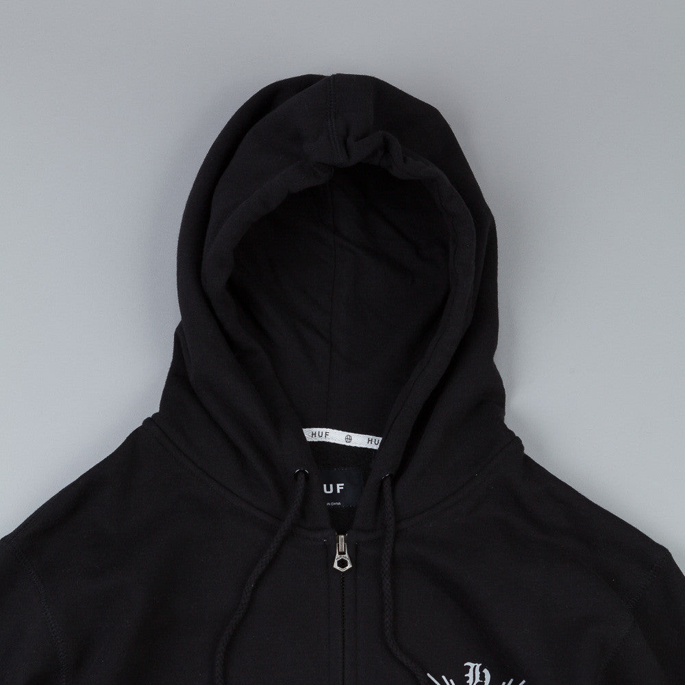 HUF Crossed Zip Up Hooded Sweatshirt Black