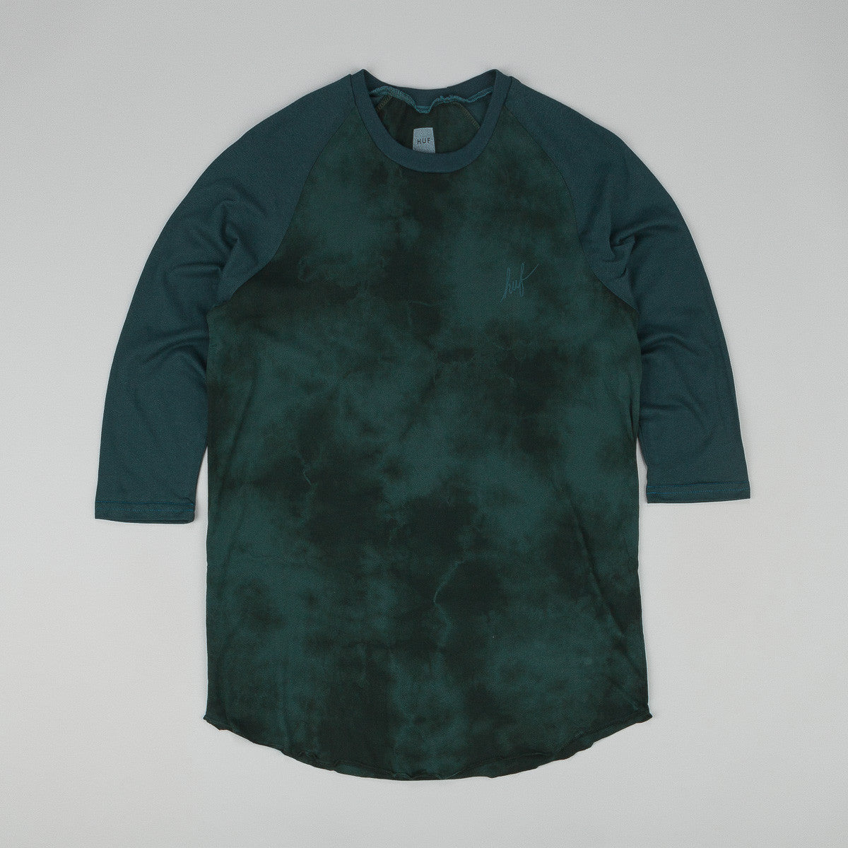 Huf Crystal Wash Script Raglan T Shirt Forest