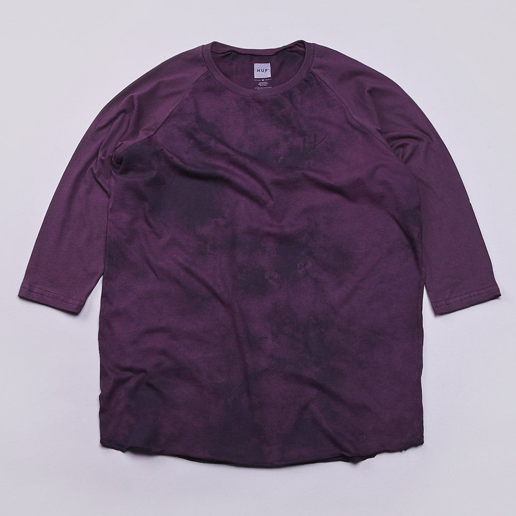 Huf Crystal Wash Script Raglan T Shirt Wine