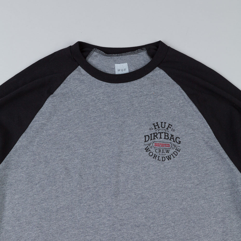 HUF DBC Seal Raglan 3/4 Sleeve T Shirt Heather Grey / Black