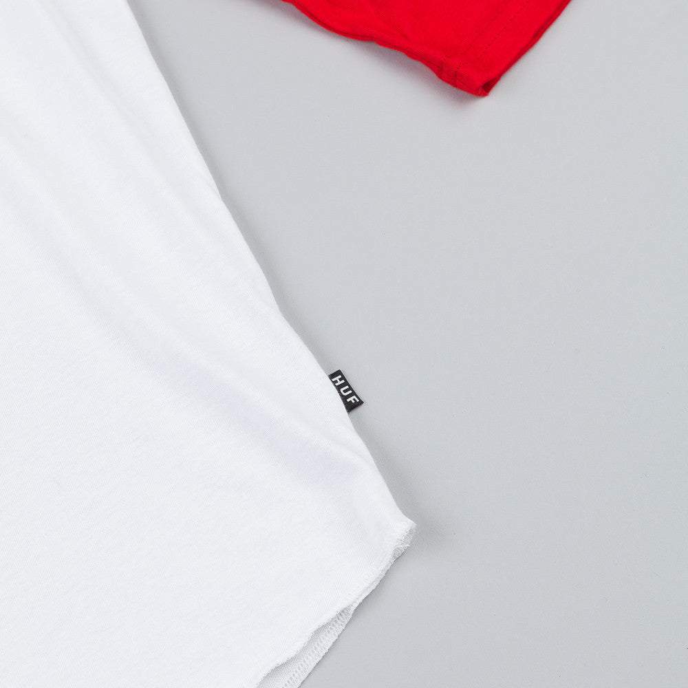 HUF DBC Seal Raglan 3/4 Sleeve T Shirt White / Red