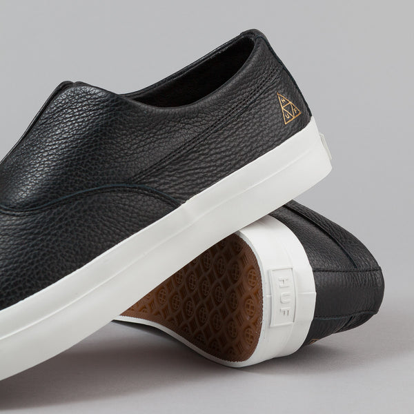 HUF Dylan Slip On Leather Shoes - Black / White | Flatspot