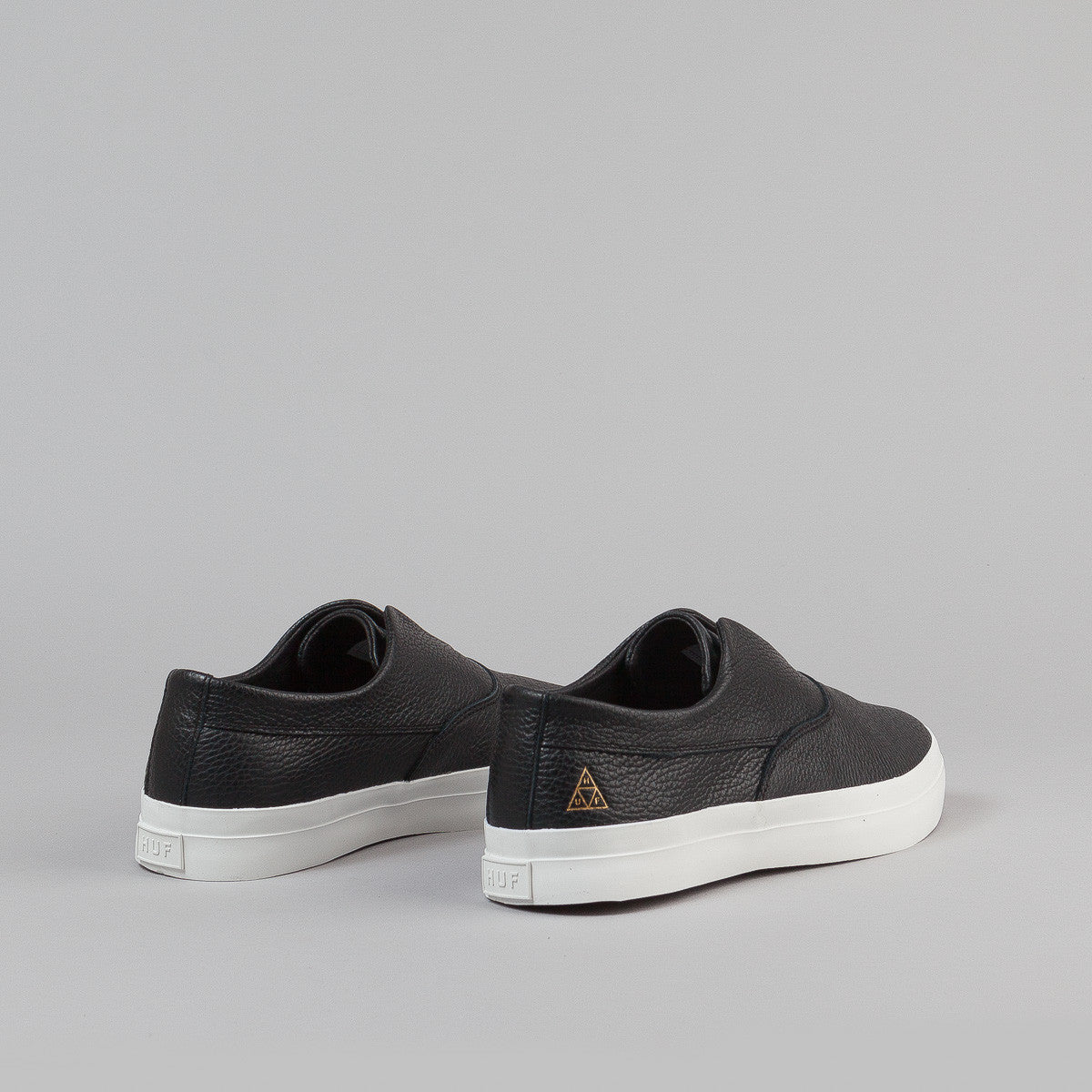 HUF Dylan Slip On Leather Shoes - Black / White