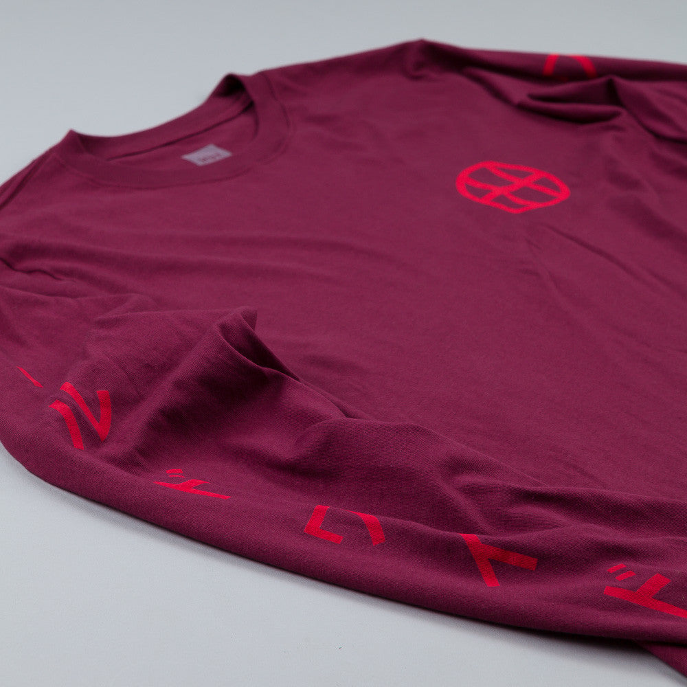 HUF Japan Worldwide Long Sleeve T Shirt Burgundy
