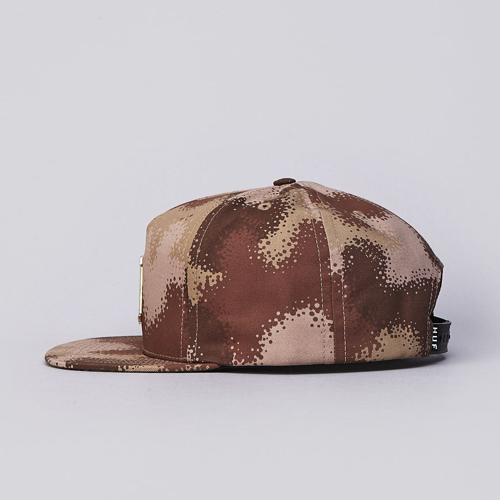 HUF Metal H Spray Camo Snapback Cap Desert Spray Camo