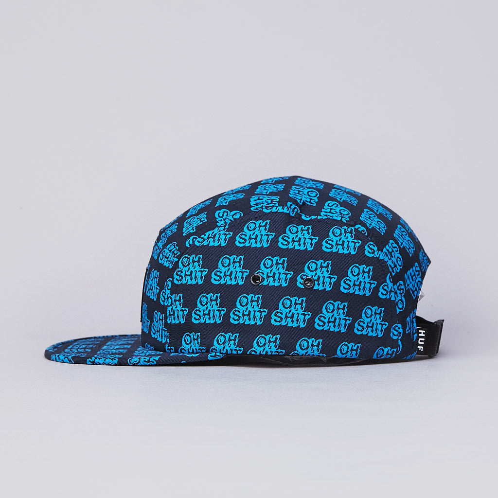 HUF Oh Shit 5 Panel Cap Navy / Cyan