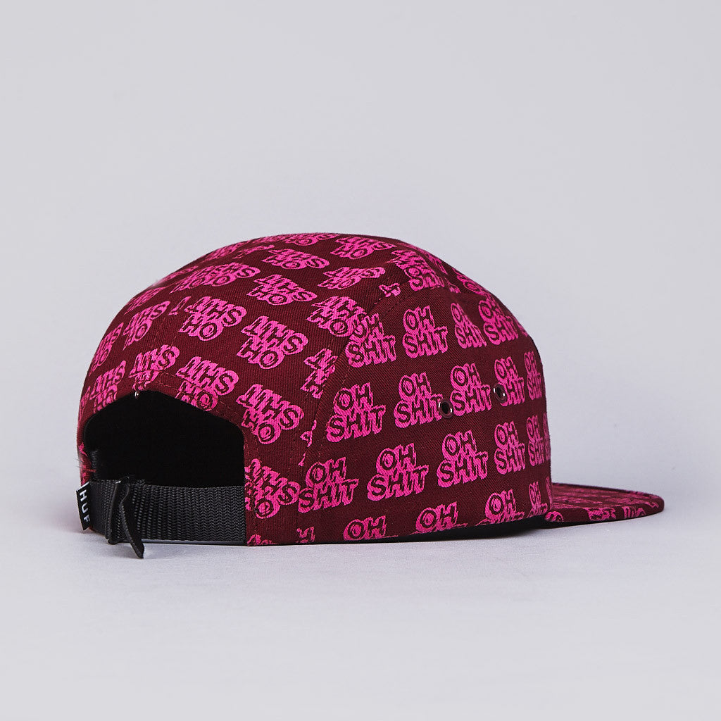 HUF Oh Shit 5 Panel Cap Wine / Fuschia