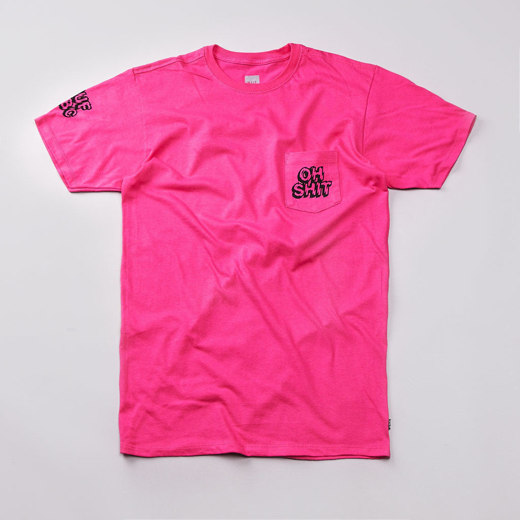 Huf Oh Shit Pocket T Shirt Pink
