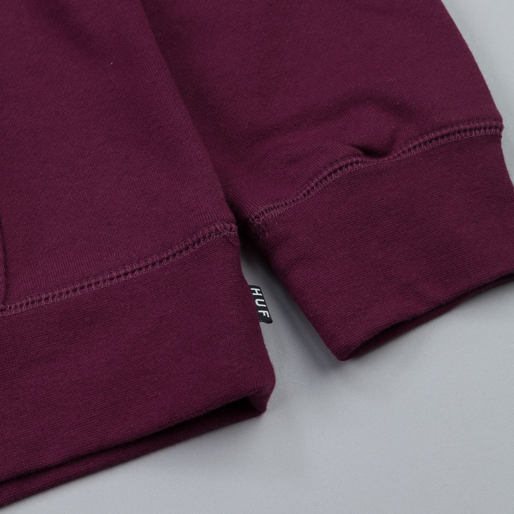HUF Original Logo Pullover Hooded Sweatshirt Wine