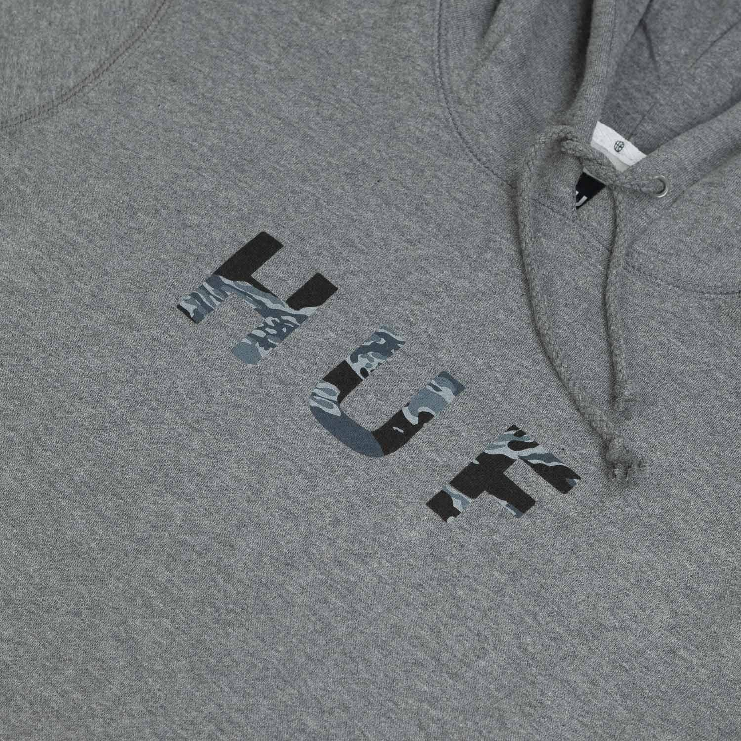 HUF Original Logo Tiger Camo Hooded Sweatshirt Heather Grey
