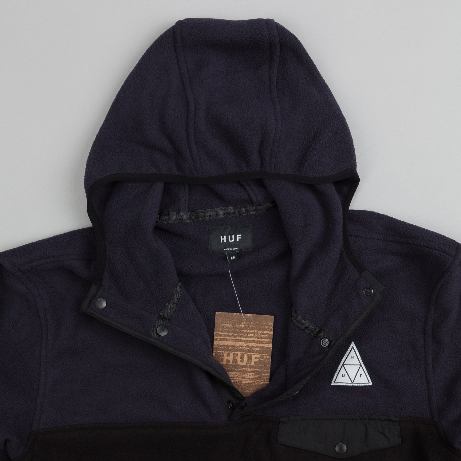 HUF Polar Fleece Pullover Snap Hooded Sweatshirt Black / Charcoal