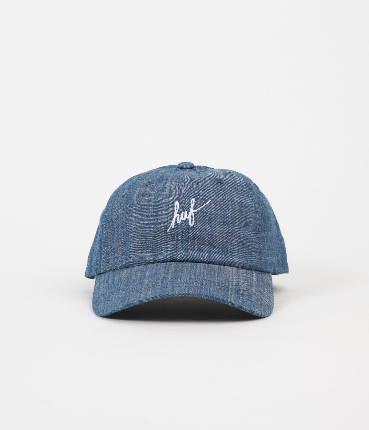 HUF Script Chambray Curved Visor 6 Panel Cap - Blue