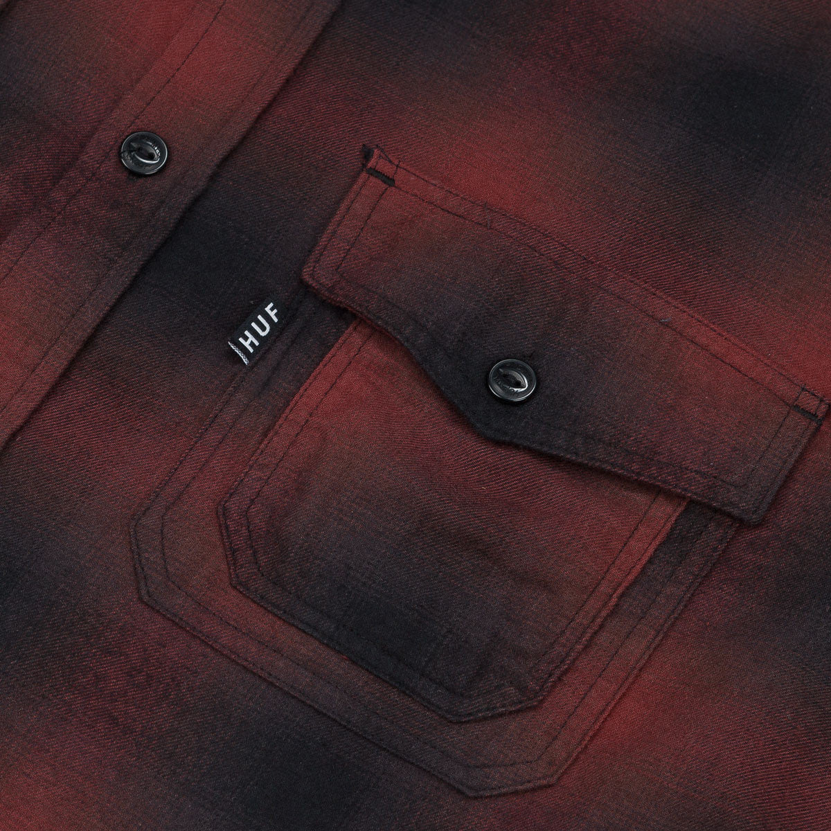 HUF Slauson Plaid Long Sleeve Shirt - Wine / Black