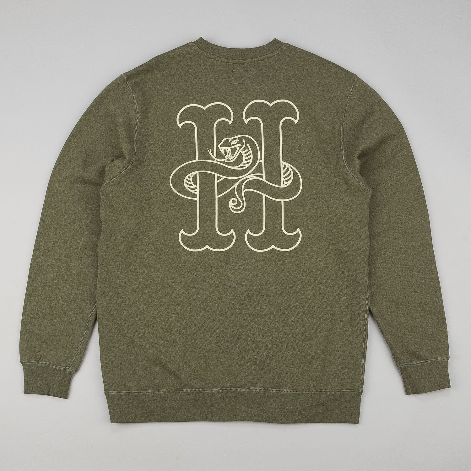 HUF Snake Crew Neck Sweatshirt - Army Heather Green