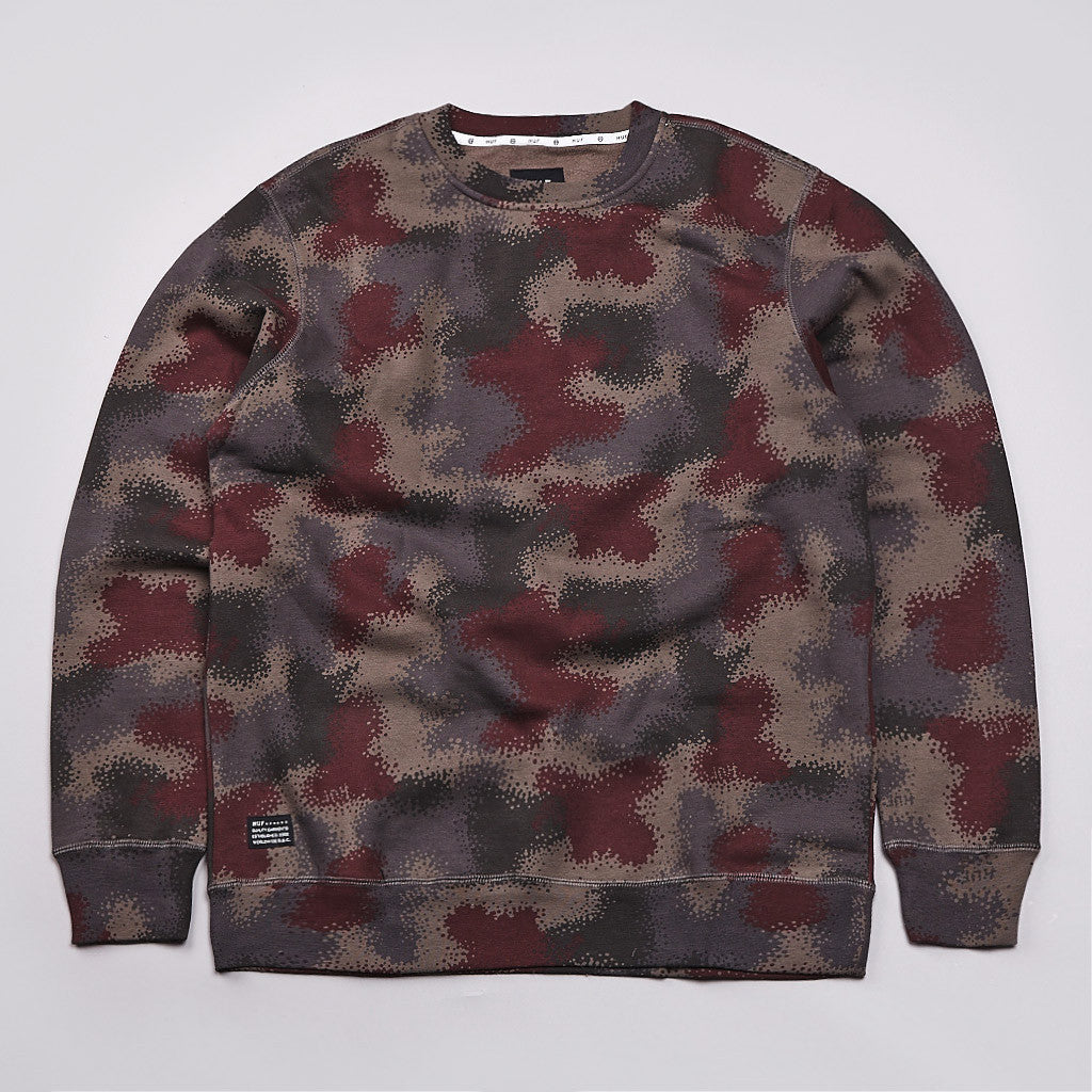 Huf Spray Camo Crew Neck Sweatshirt Black Spray Camo