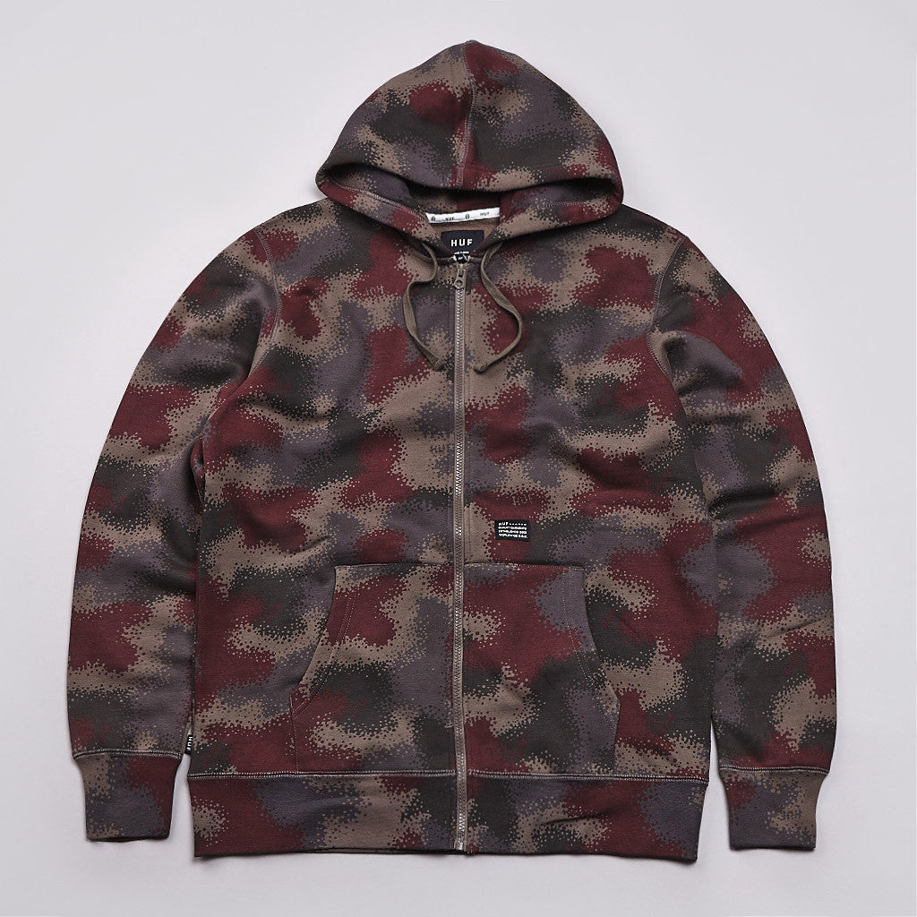 HUF Spray Camo Zipped Hooded Sweatshirt Black Spray Camo