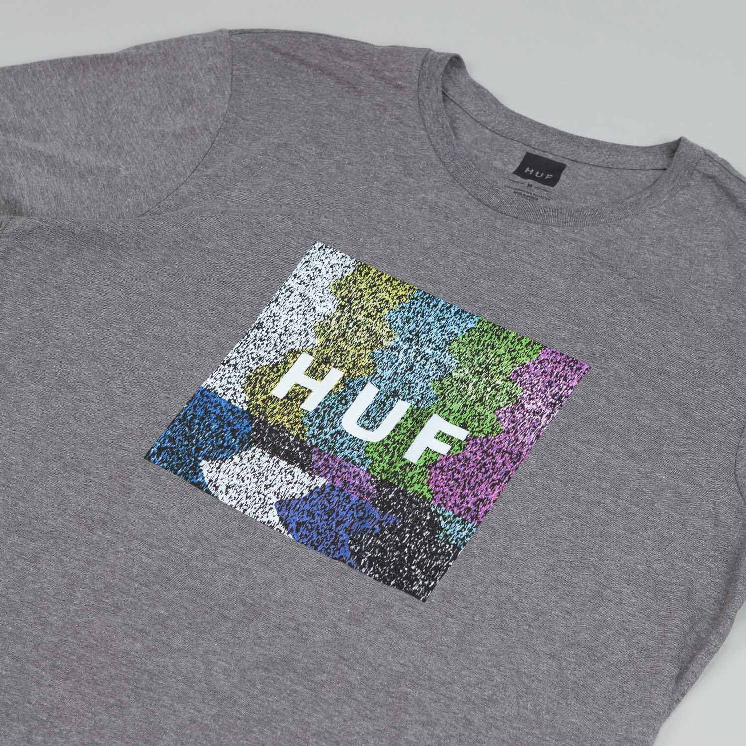 HUF Static Box Logo T Shirt Grey Heather