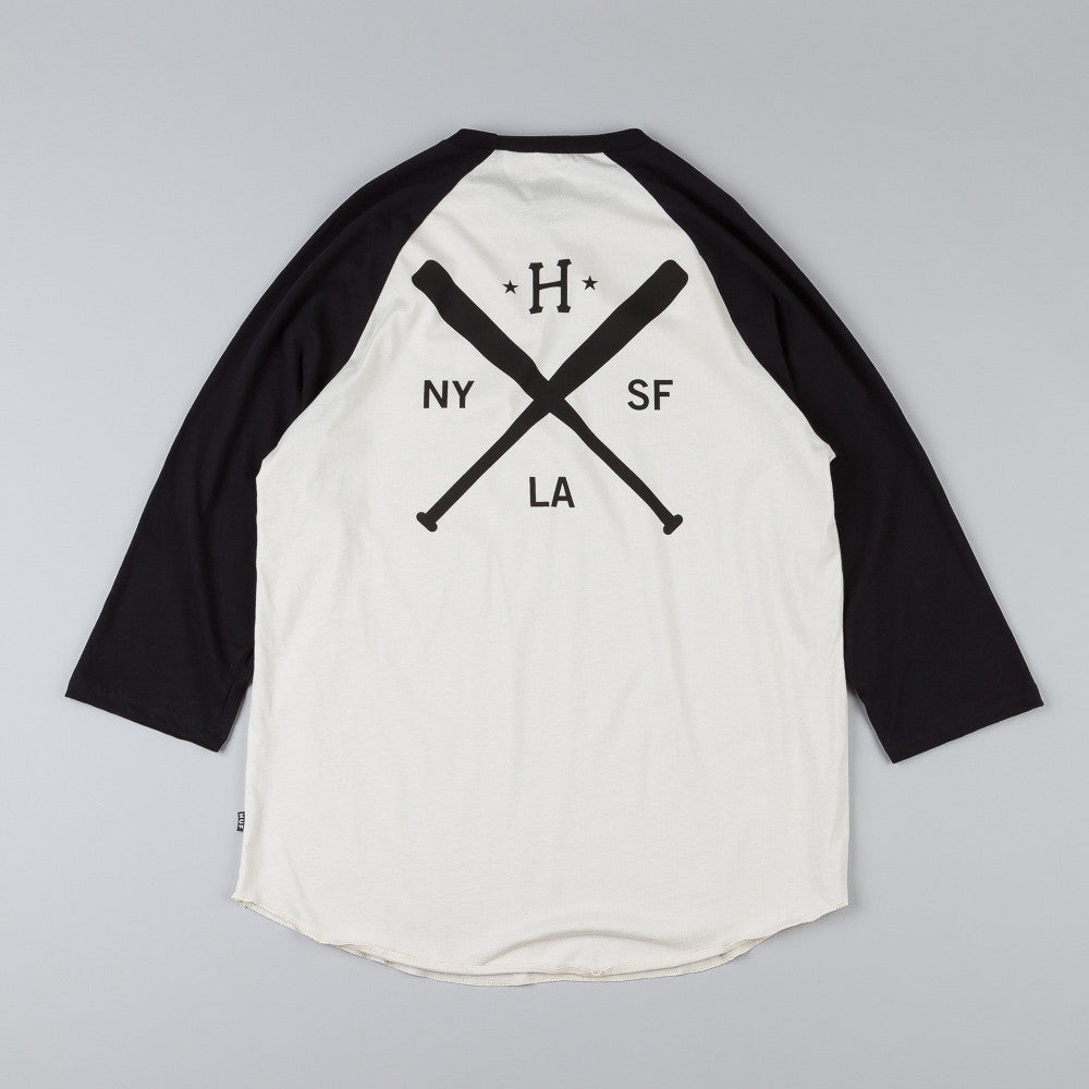 HUF Strike Out Raglan T Shirt Off White / Black