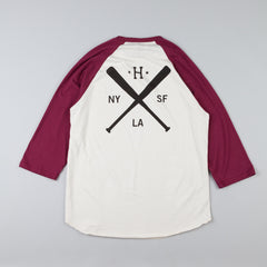 HUF Strike Out Raglan T Shirt Off White / Burgundy