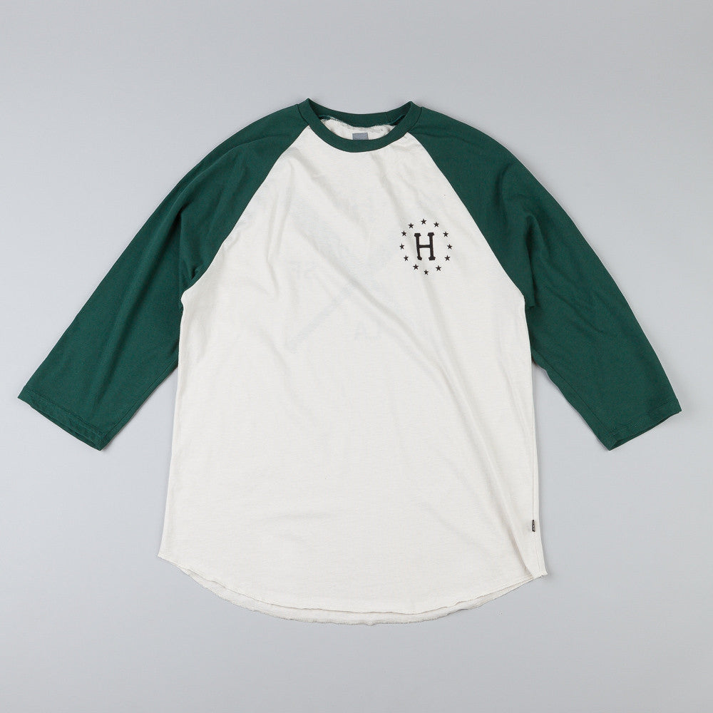 Huf Strike Out Raglan T Shirt Off White / Forest