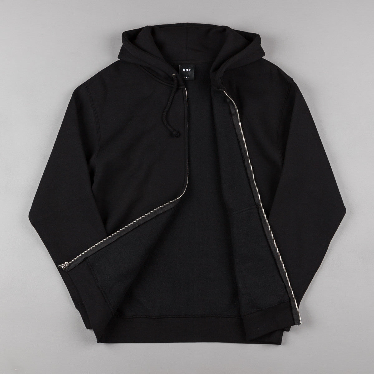 HUF Classic H Zip Up Hooded Sweatshirt - Black