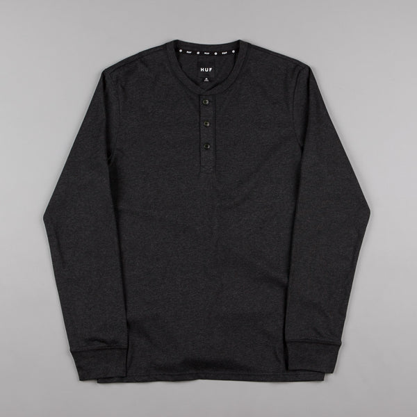 HUF Thompson Long Sleeve Henley Shirt - Black Heather