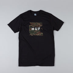 HUF Tiger Camo Box Logo T Shirt Black