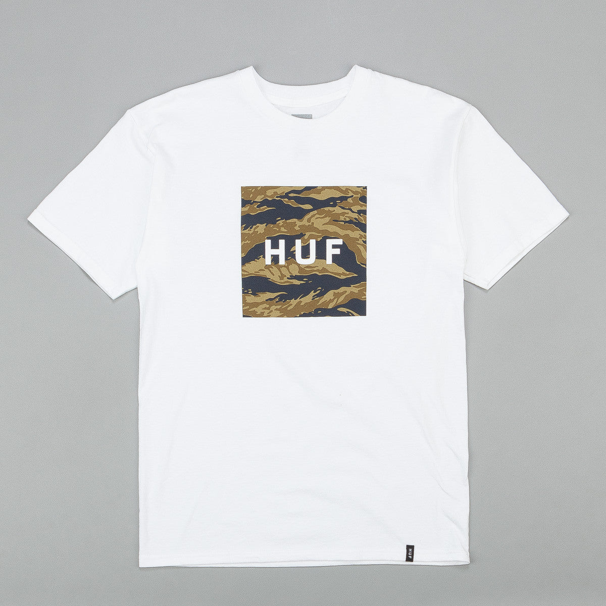 Huf Tiger Camo Box Logo T Shirt White