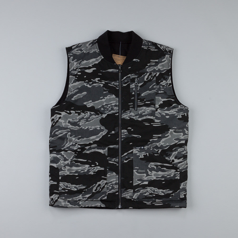 Huf Tiger Camo Reversible Zip Up Vest Black Camo / Reversed