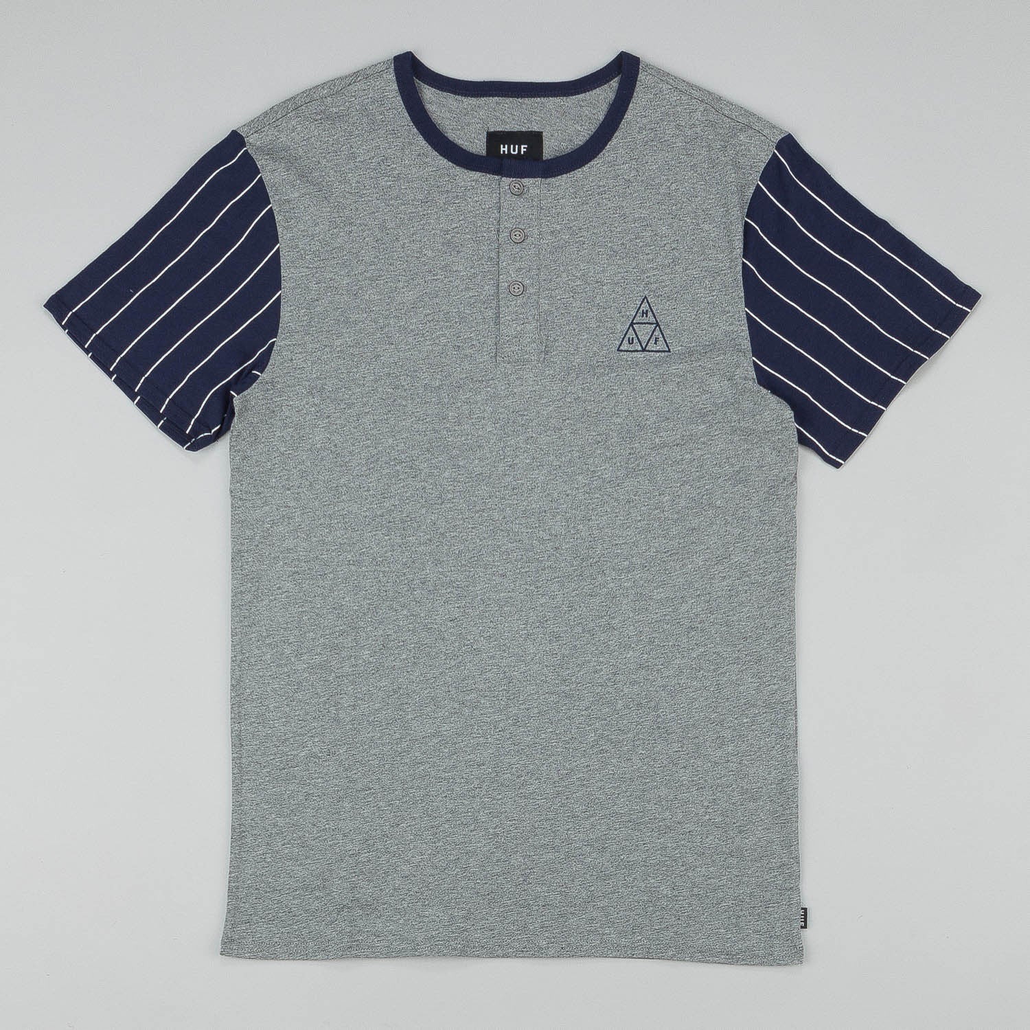 HUF Triangle Baseball T-Shirt - Grey / Navy