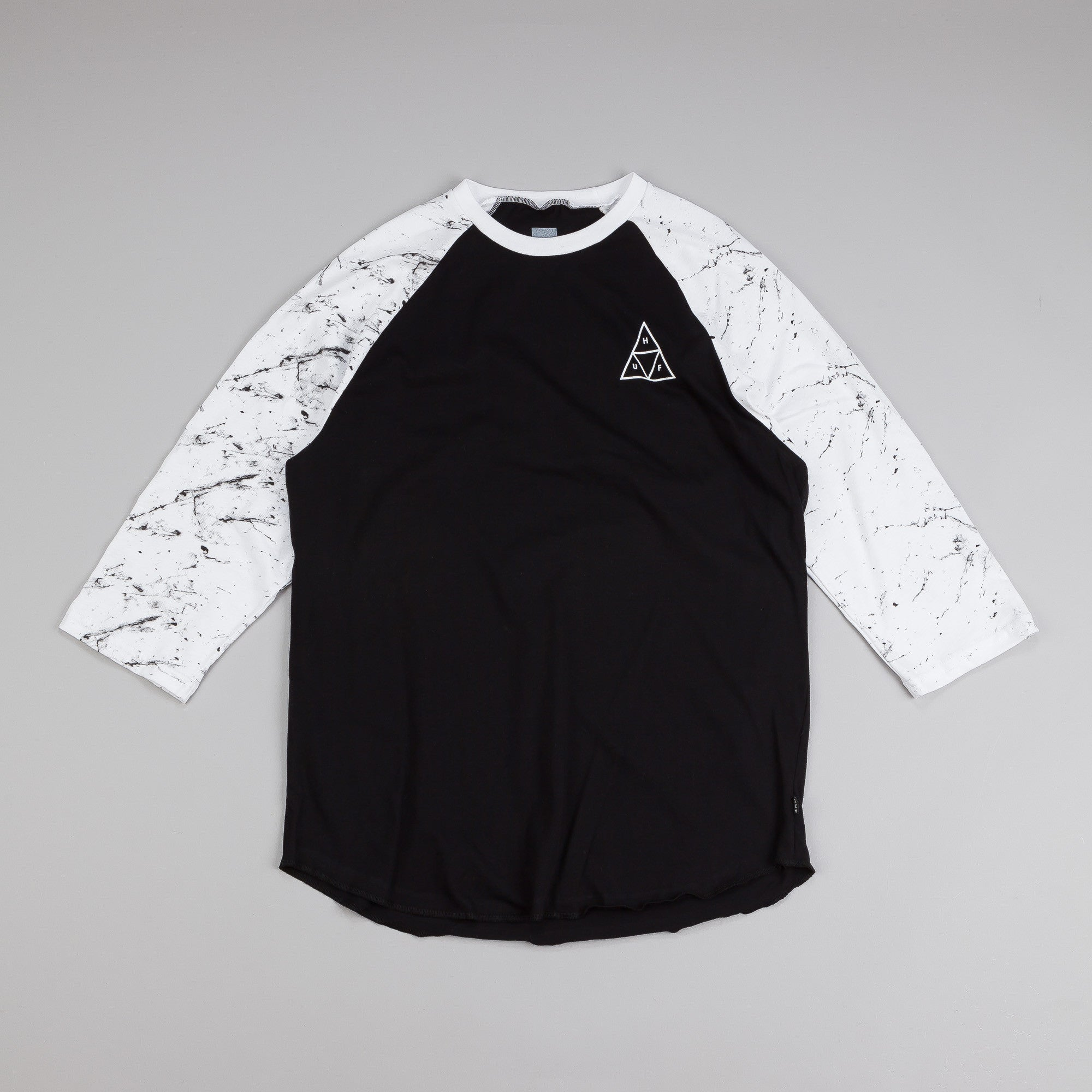 Huf Triangle Raglan T Shirt Black / White